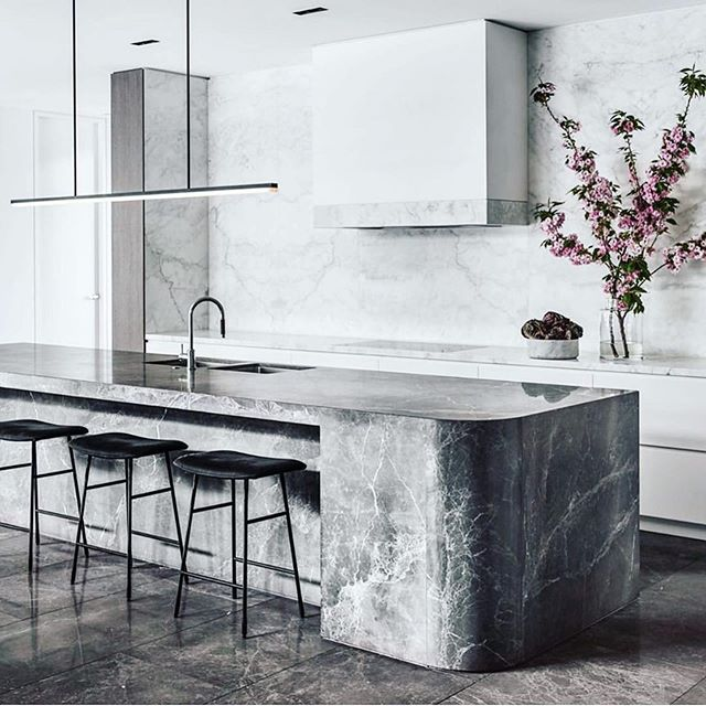 Marble for days. Natural stone in the most beautiful mix of soft greys makes for a light space with dreamy textures. Stunning kitchen from the best @mimdesignstudio ✨  #Repost @spacefurniture ・・・ | P R O J E C T | Congratulations @mimdesignstudio with the #nnhresidence taking out first place in the  Contemporary category at the @subzerowolfaust kitchen design contest. Here: @livingdivani Hinge stools designed by Francesco Rota complement this award-winning kitchen and home.  P: @peterclarkephoto ⁠ #spacefurniture #mimdesign #hingestool #livingdivani #shop #home #kitchen #interiordesign #architecture #space ⁠