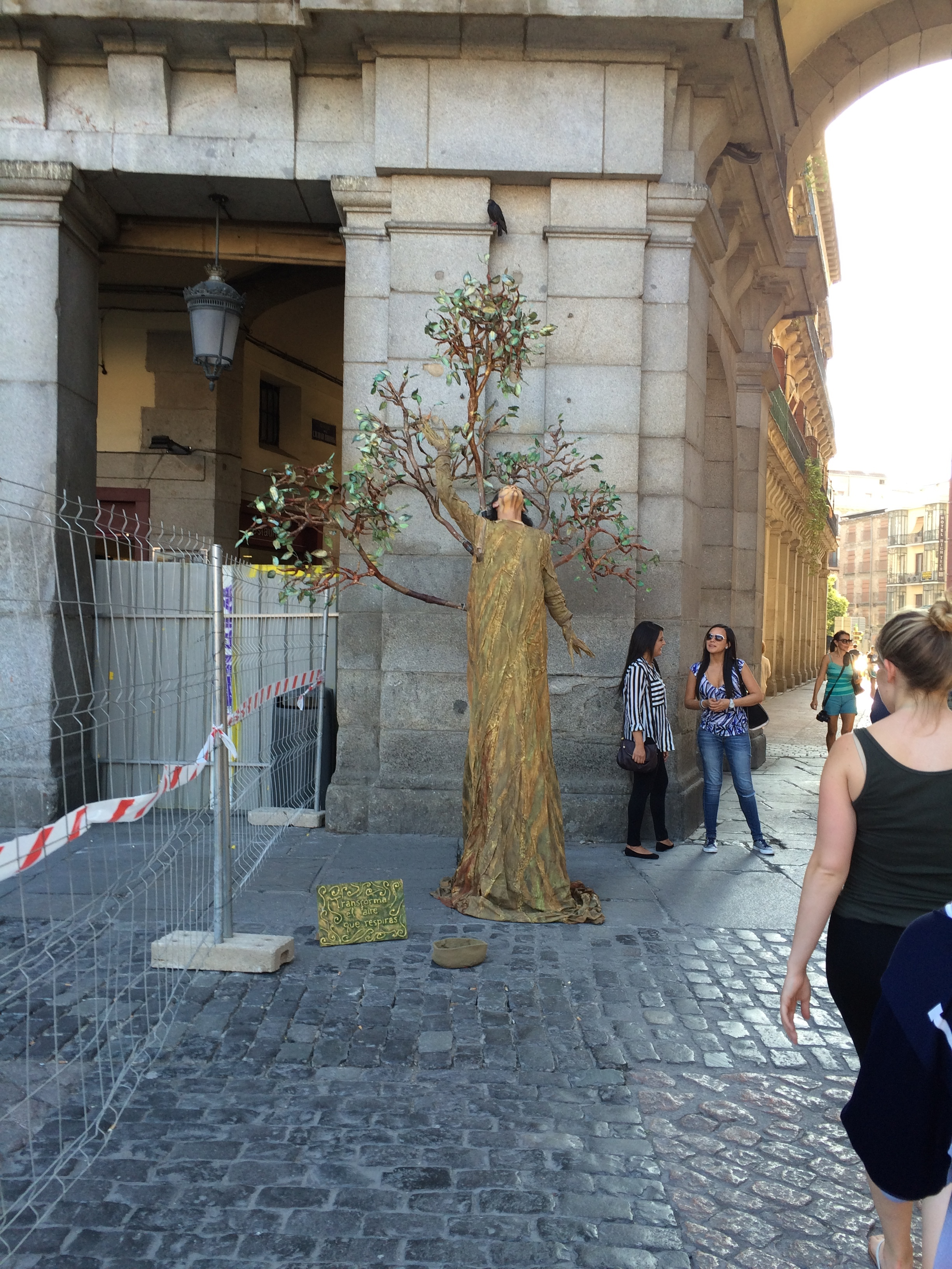 In Madrid, Spain. A person dressed as a tree.