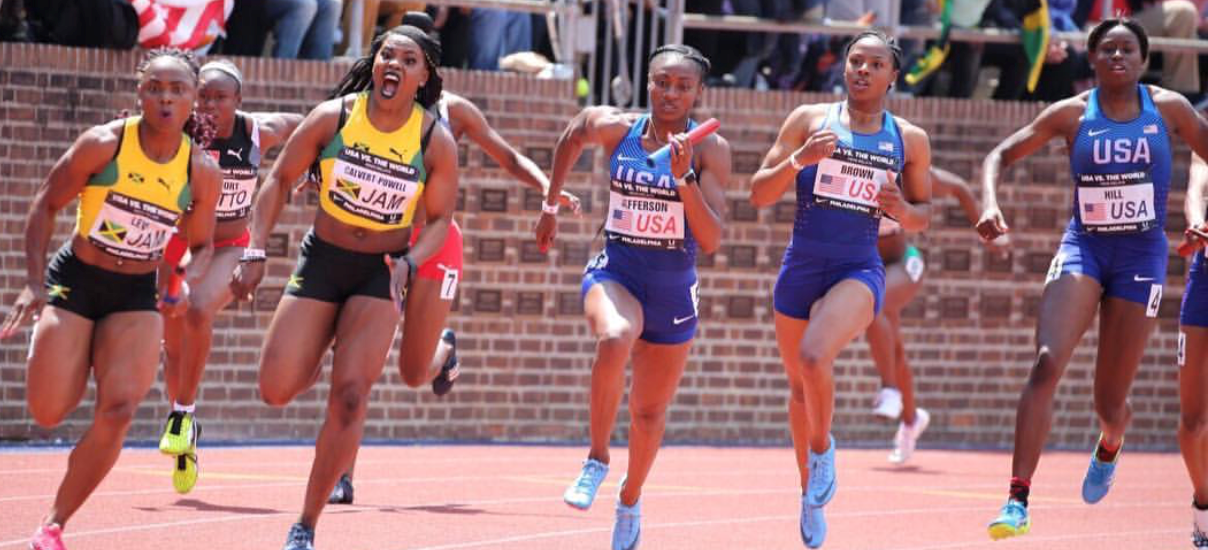 Kyra Jefferson competing in the 4x1 Penn Relays. Photo credit: J Swift Sports.