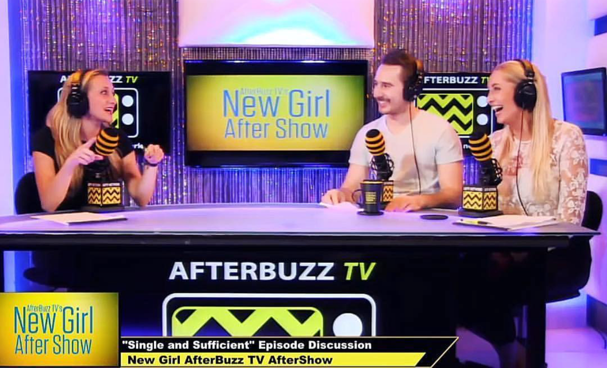 "Tessa (far right) and co-hosts on air for ""New Girl"" AfterBuzz TV AfterShow. Photo Credit: @tessa_cevaal"