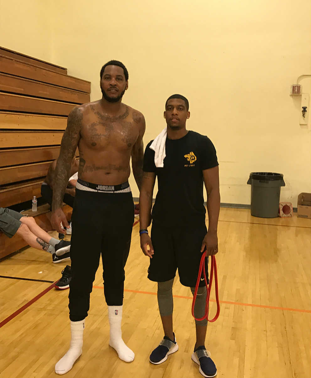Carmelo Anthony and Jelany White pictured after a workout session. Photo by IG: @jwhite.pitla
