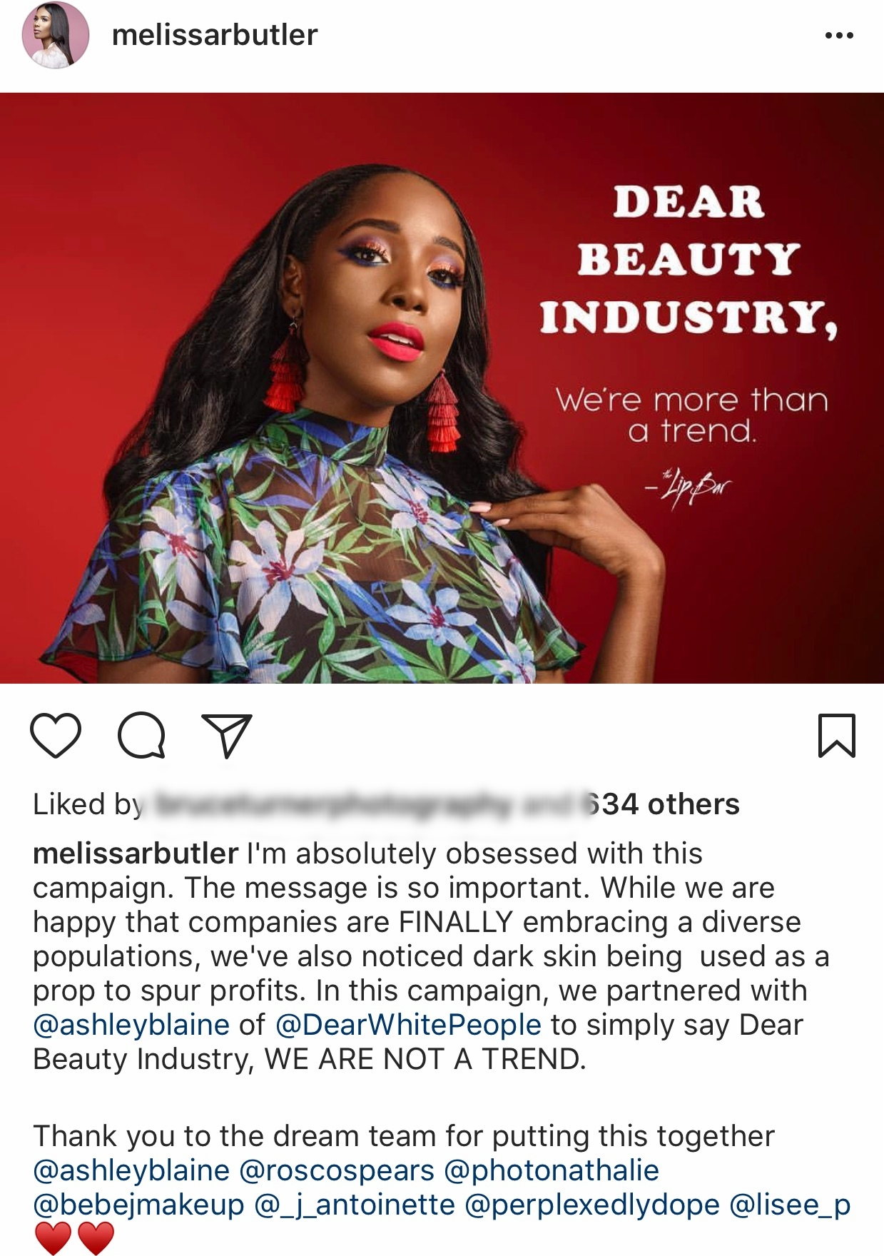 Image of Melissa's post announcing the campaign with Ashley Blaine. Photo by Nathalie Gordon (@photonathalie)