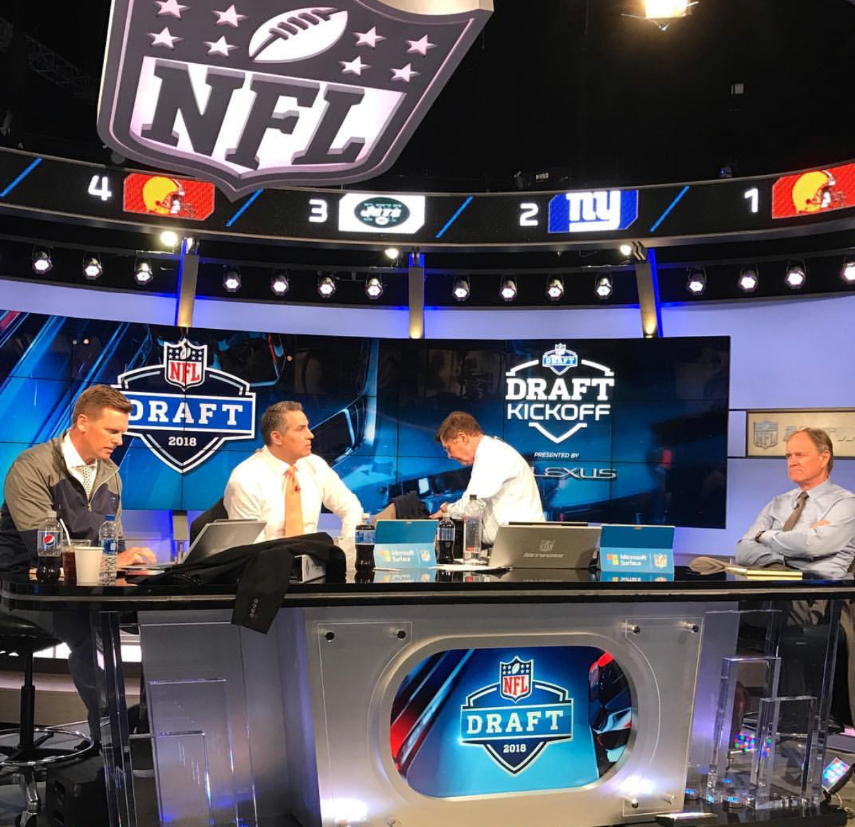 Dan Hellie (last on the left) pictured with other analysts during the 2018 Draft segment in April. Photo obtained from @danhellie via Instagram.