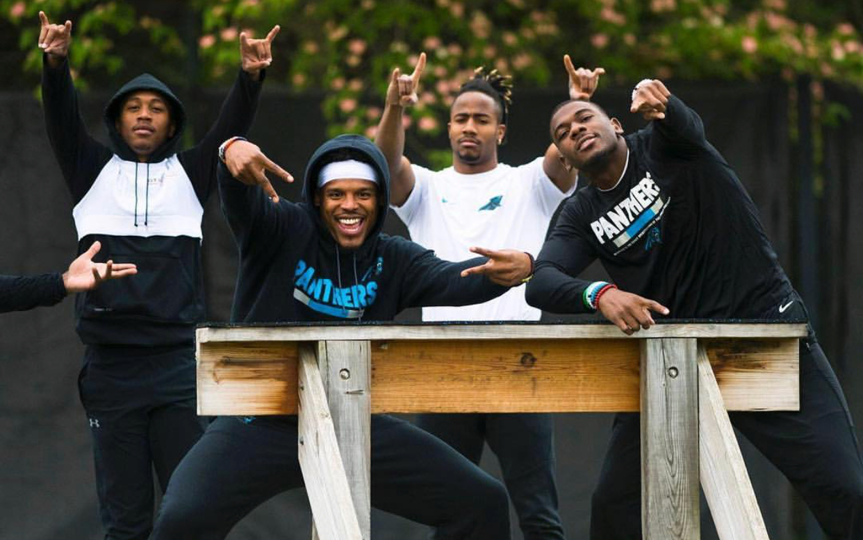 Photo retrieved from @dfunch. From left to right: Damiere Byrd, Cam Newton, Austin Duke and Funch.
