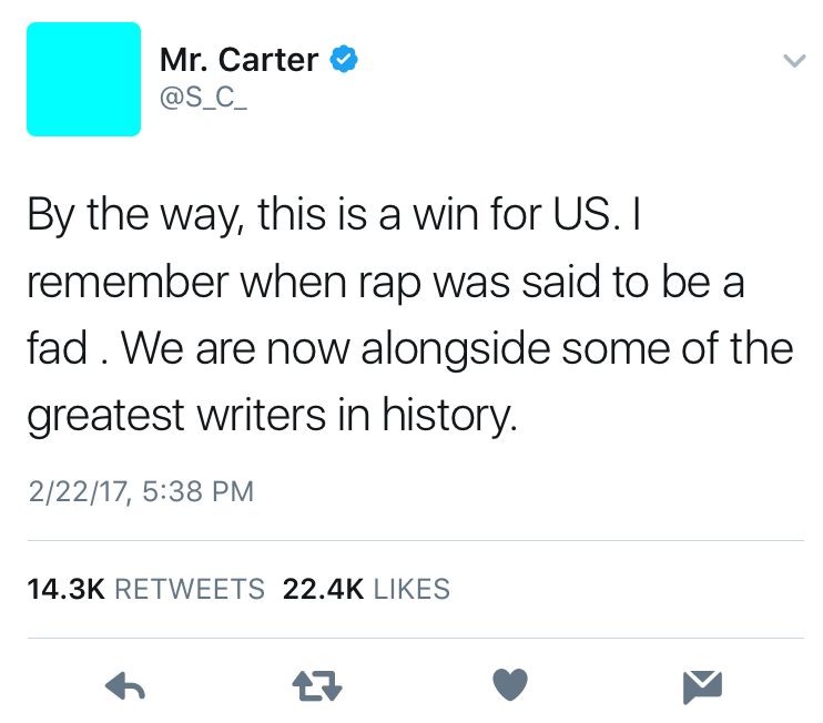Jay Z addresses the honor on Twitter