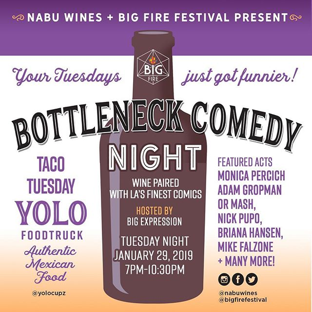 #tacotuesday is a joke Tonight @nabuwines we are celebrating the new year with our first Bottleneck Comedy of 2019. Bring your resolutions that you plan on starting tomorrow and come thirsty. $5 tickets so you can still pay rent. #conejovalley #happyhour #comedy