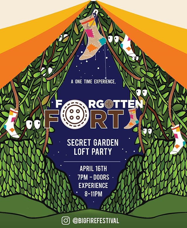 **ticket link in bio** BiG Expression Presents: Forgotten Fort is transforming the @secretgardenloft into a one night only experience that will awaken your childlike sense of play.  Where have all our missing socks gone? Our childhood toys? Our innocence? Our dreams? What got lost in translation? Where do we go when we lose ourselves in a kiss?  Rediscover it all at Forgotten Fort: The last place you're looking for.  Forgotten Fort is an immersive performing arts space that houses all things lost waiting to be found. Join us on April 16th for a pop up experience before the installation travels elsewhere... Clown, Poetry Readings, Dramatic Stories and Unsolicited Advice from Unprofessional Gurus. Interactive Games & Sock Puppet Making. 21 & Over. ...you didn't even know you were looking for this 🧦