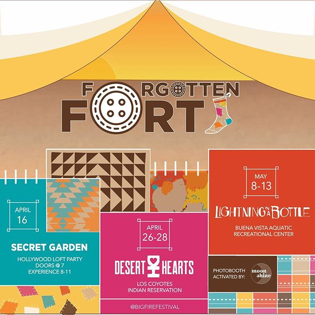 BiG ANNOUCEMENT!  After months of designing and prep, we are gearing up for our first ever Forgotten Fort festival tour 🧦 We have created a magical place for you to come and connect with your childlike sense of play and rediscover what has been lost.  If you're in LA, join us for a special one night only experience at the @secretgardenloft on April 16th! **ticket link in bio** Or or or you can find us at @deserthearts festival or @libfestival ♥️ We can't wait to share with you the Forgotten Fort: the last place you are looking for.
