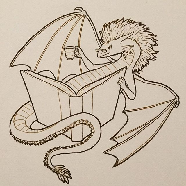 Just finished inking the BookWyrm! This dragon is happy to curl up with their latest addition to the hoard. 💖 . . . #illustration #ink #lineart #wip #dragon #book #bookworm #wyrm #fantasyart #coffee #tea #reading #cozy
