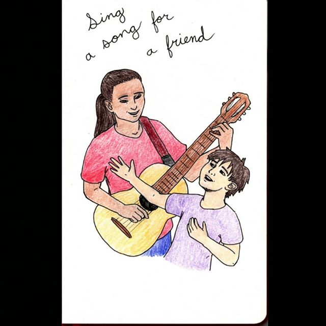 Sing a song for a friend, sing a song for yourself 🎵🎶🎵 . . . #illustration #arcofthemoraluniverse #ink #coloredpencil #lineart #sing #song #music #musical #friends #artistsoninstagram #sketchbook
