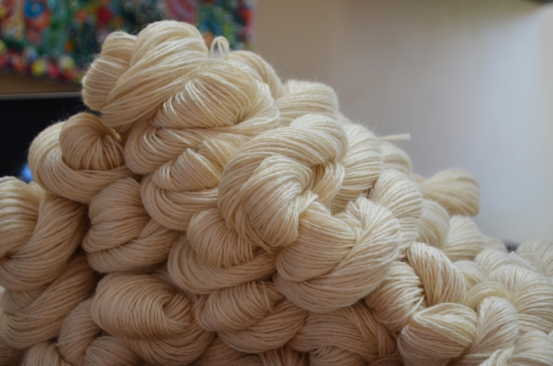 Wound off of cones, the undyed Yorkshire Medley waits to either be tagged as Elderflower, or popped into the dye pot.