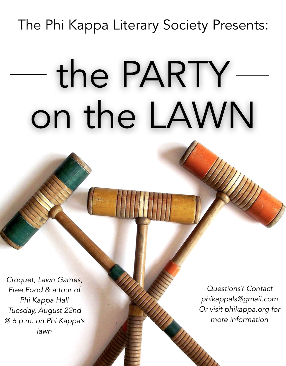 Got the back to school blues? - Come kick them with Phi Kappa at the Party on the Lawn! Join us on Tuesday, August 22nd, 2017 at 6 p.m. while the semester is still kicking off!