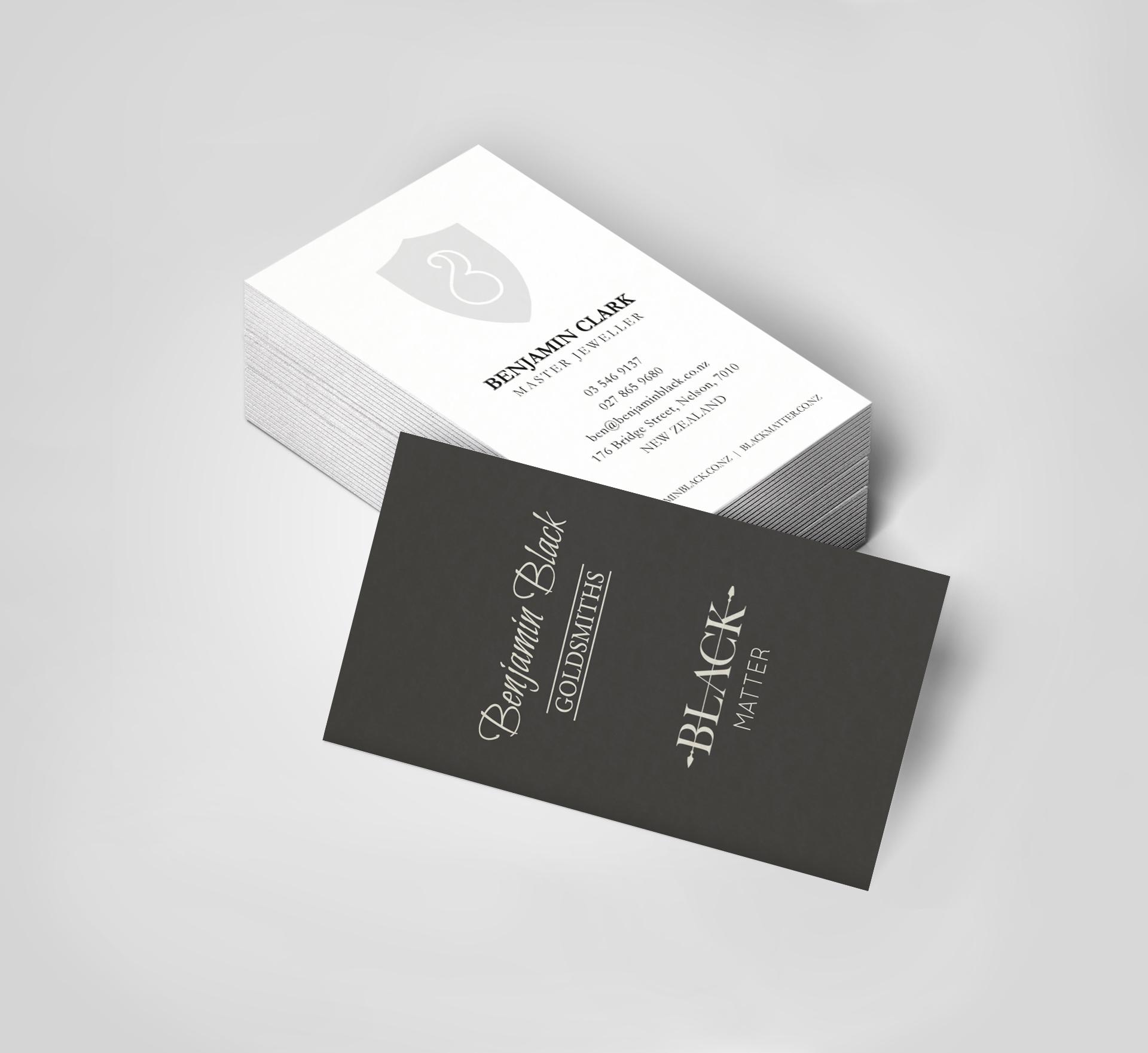 benjamin black goldsmiths  business card design and print