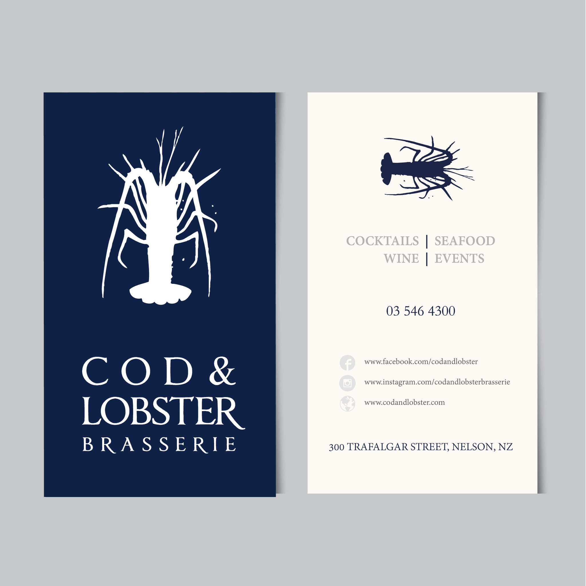 cod and lobster  business card design and print