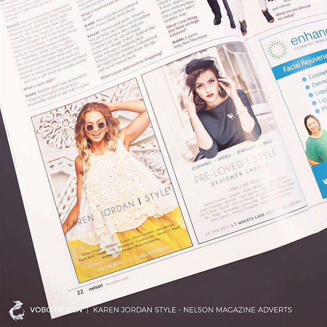 I have been working with @karenjordanstyle to design content for her since I took the leap out into a career in design. I love working with her and her brand as she is always after an elegant, beautiful or fun piece of creative 💛  Featured side by side are two adverts I designed for the @nelson__mag for Karen's stores.  #design #advert #nelson #printdesign #style #graphicdesign #trelisecooper #creative #magazinedesign #brand #elegance #fun