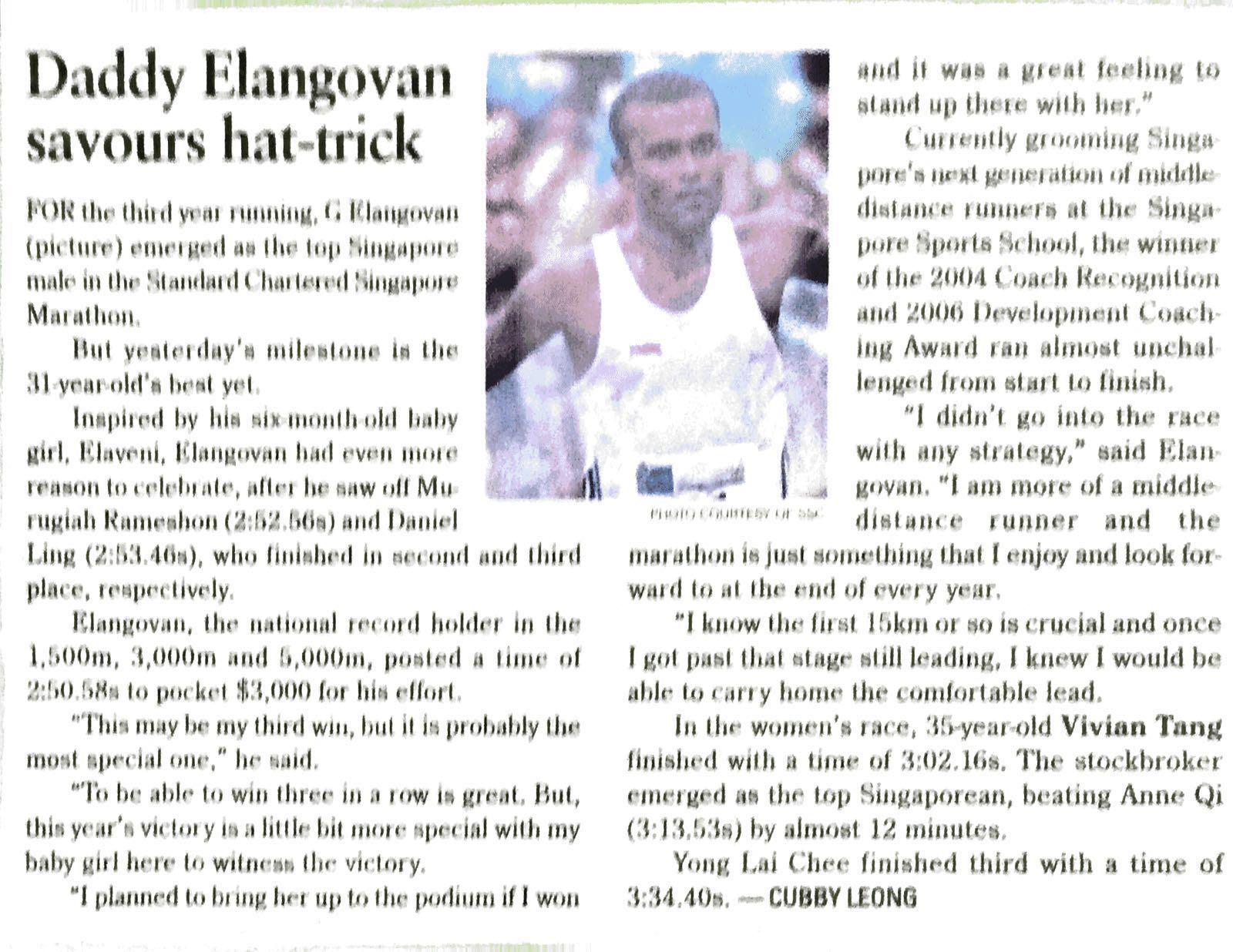 1st Singaporean hat trick for singapore marathon close category