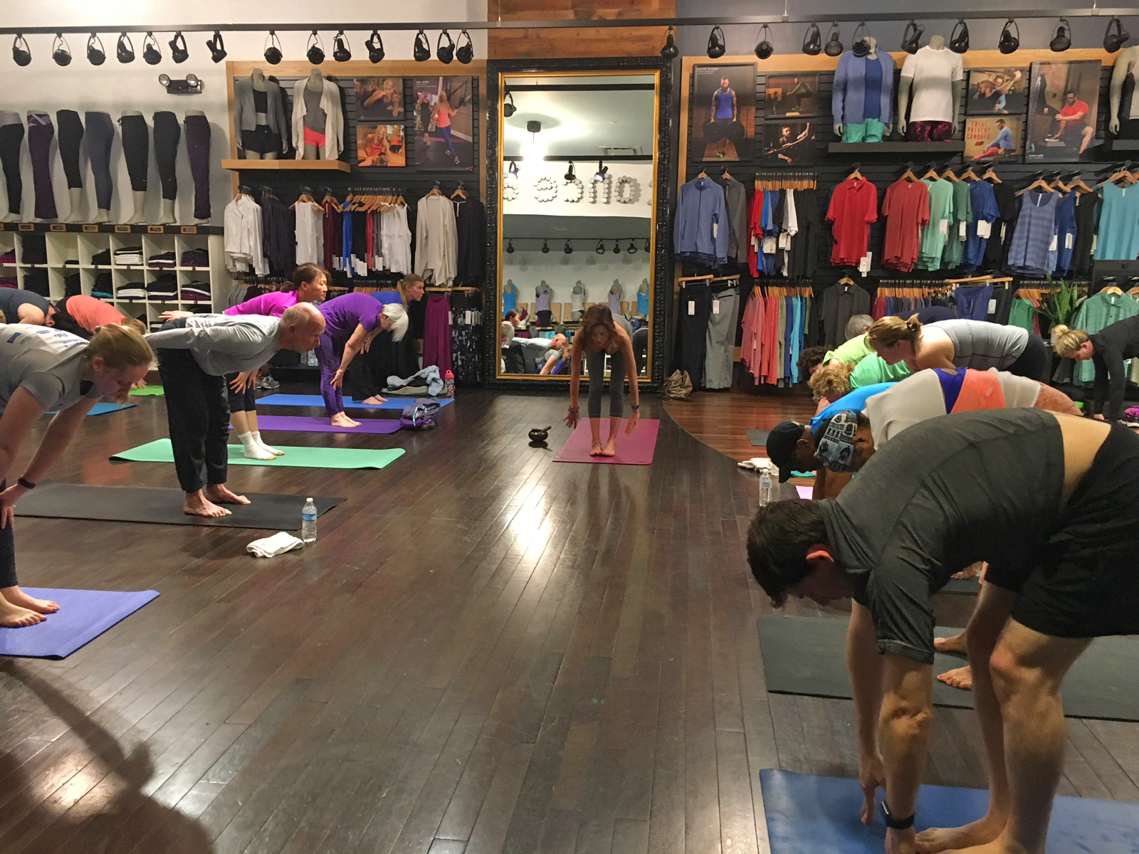 Teaching at Lululemon Athletica at the Kenwood Towne Centre in Cincinnati, Ohio, where there are complimentary classes each Sunday morning!