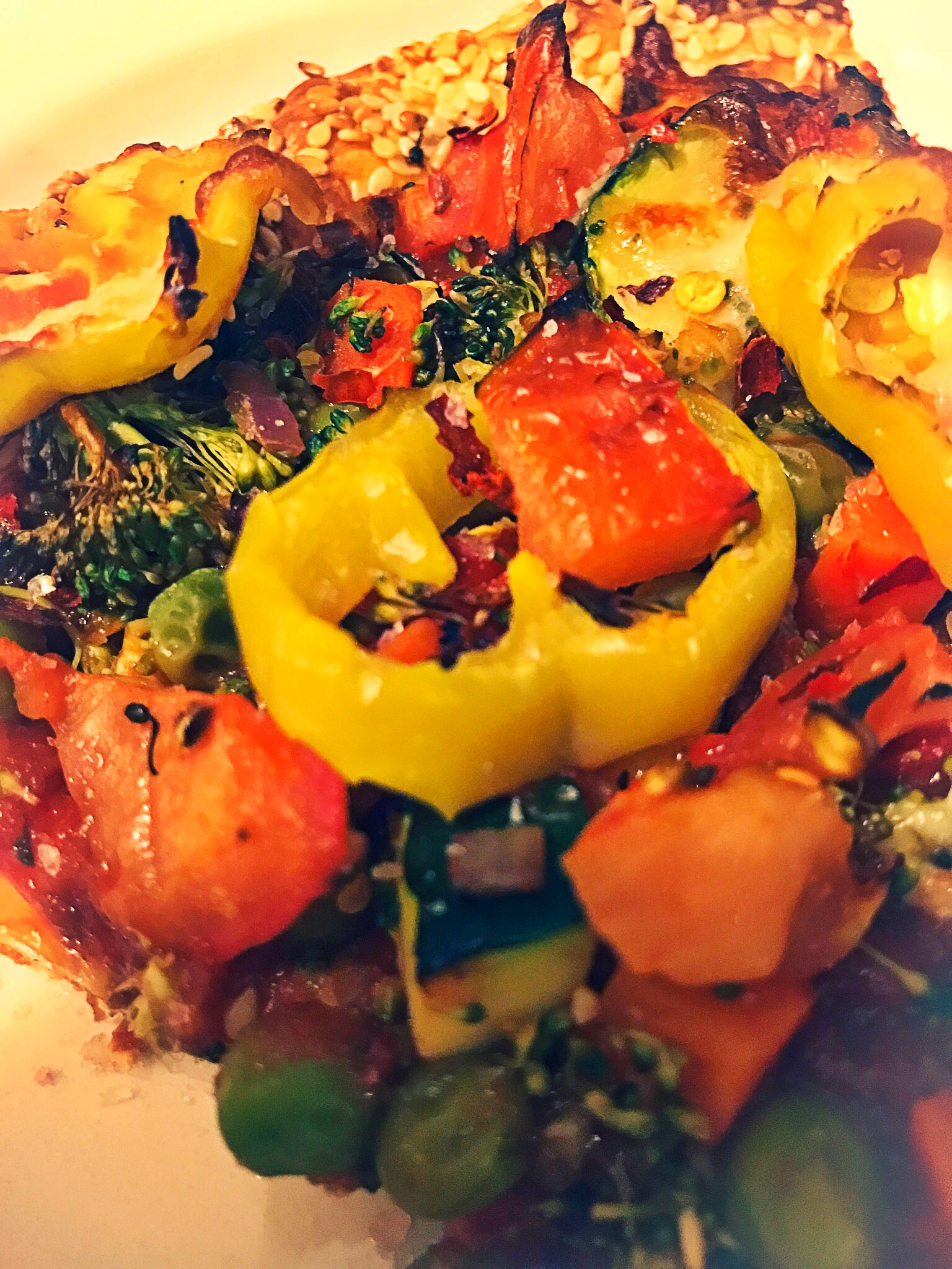 Delicious loaded veggie pizza.  I simply skipped the cheese and it was mouth watering.