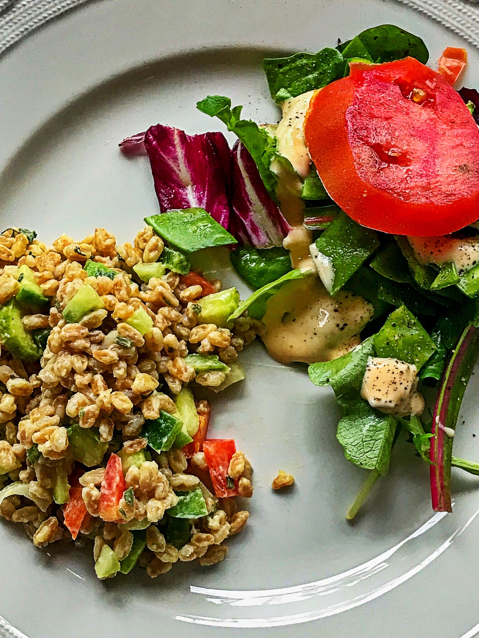 Farro is a grain that is high in protein. I served this salad room temperature, but you can eat it hot or cold.