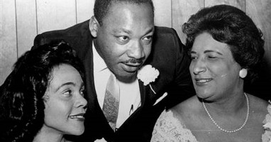 Martin Luther King with his wife Coretta (left) and Constance Baker Motley at SCLC Convention honoring Rosa Parks, 1965 (AP photo)
