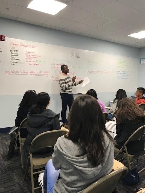 "Abdurrahman, ""Mr. A,"" teaching Saturday Writing Class at NJ LEEP."