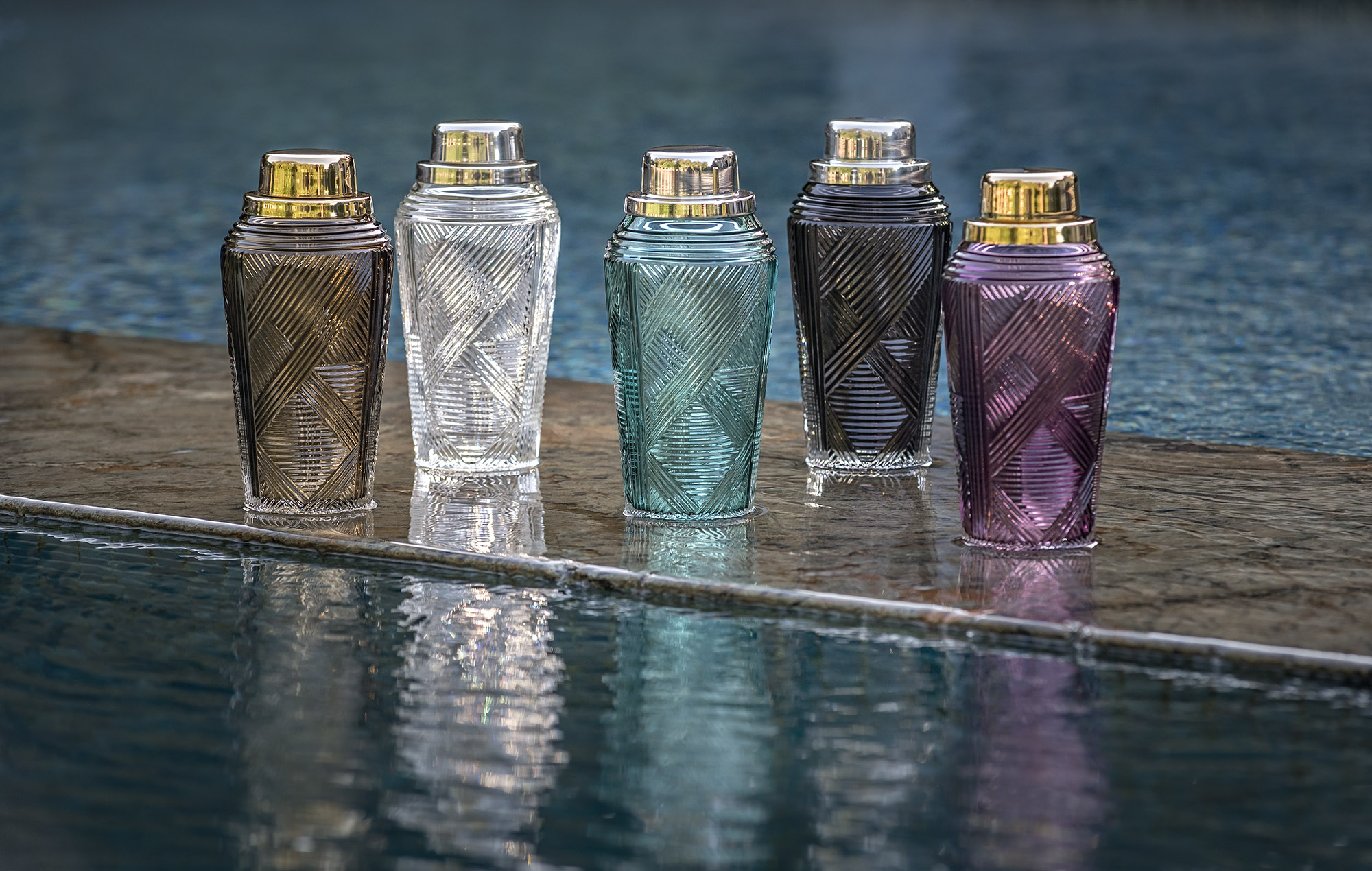 Columns cut shakers in smokey, clear, tourmaline, grey and amethyst
