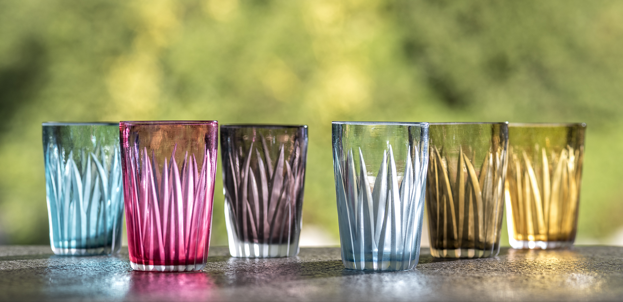Shot glasses in tourmaline, rose, amethyst, sky blue, smokey and amber