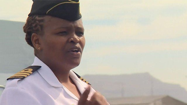 Africa's first female navy commander     The first African woman to command a navy vessel has recently been appointed in South Africa.   Zimasa Mabela  broke new ground when she took charge of a de-mining ship based in Cape Town last month.  The 38-year-old mother of two says she wants to be judged on her ability to command and not her gender.