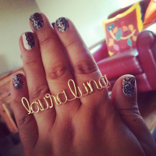 """Another satisfied customer!  http://khafra.co     lalunafemme :     Yay! Got my custom """"laura luna"""" 3 finger ring in the mail from @khafra_co! Love it! #jewelry #ring #khafraco #lauraluna"""