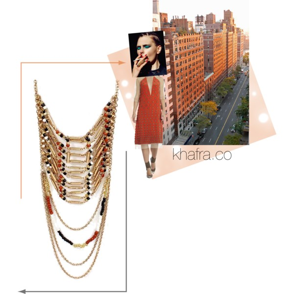 This lightweight beaded bib multi-chain necklace to add a kick of personality to any deep-V dress or plain tank or blouse.   BUY IT NOW.