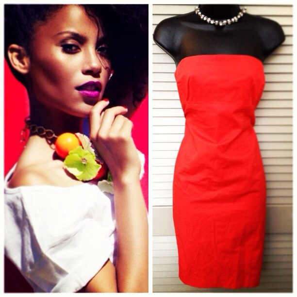 Women's Strapless Red Dress