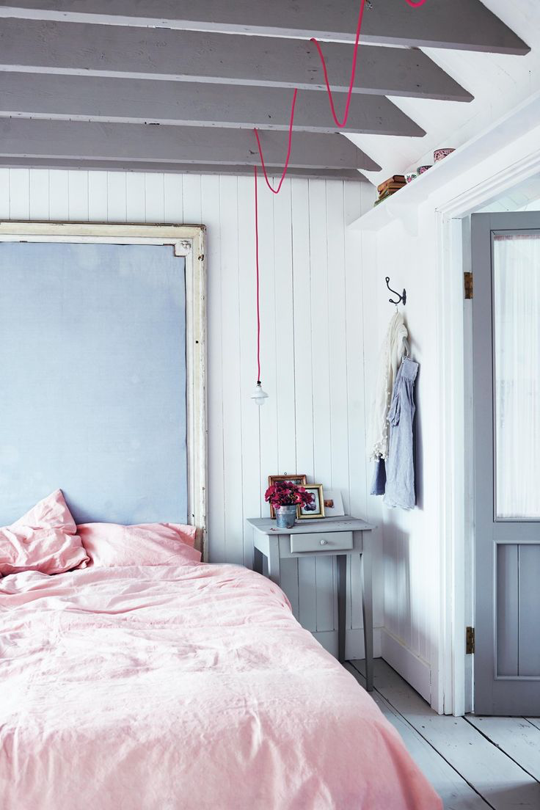 Pink and soft baby blue are surprisingly grown-up when paired with lots of white and grey. The hot-pink cord is a nice touch. Image from  Decor8 .