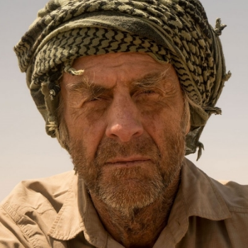 Sir Ranulph Fiennes OBE in 2015 at the Marathon des Sables - the toughest footrace on earth where competitors complete 6 marathons in 5 days under the 50degC Saharan sun.
