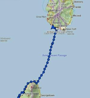 Track across the St Vincent Passage