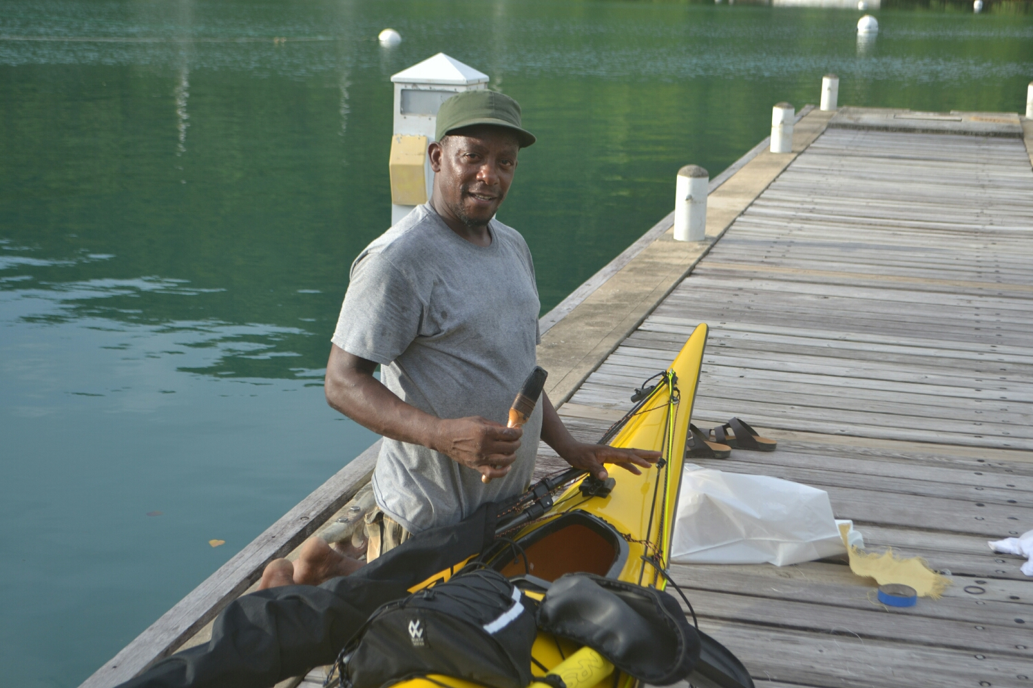 Imbert working on our kayak