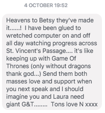 a not untypical message from a friend, this one from early October.