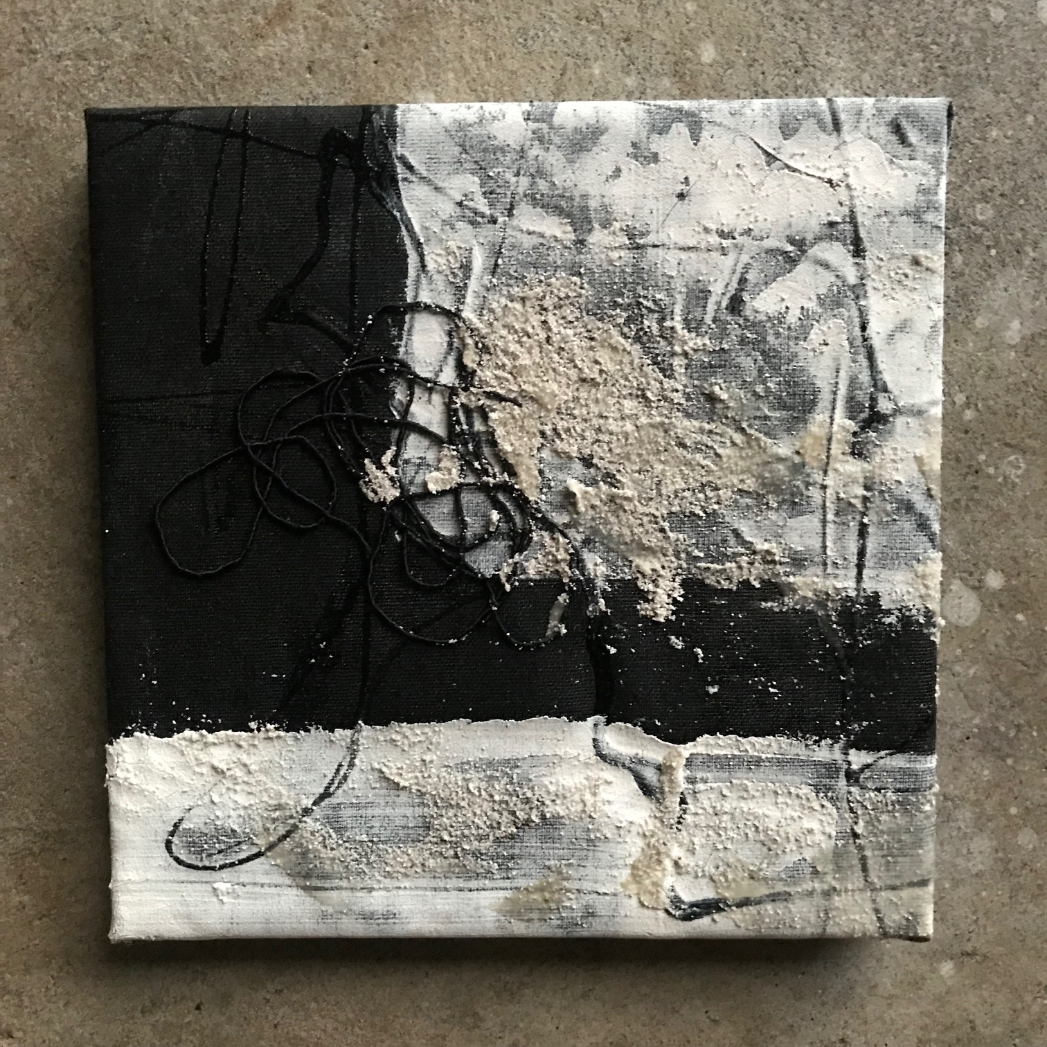 "Artifact (night of truth), 8"" x 8"", mixed media (fiber, acrylic, paint), 2018"