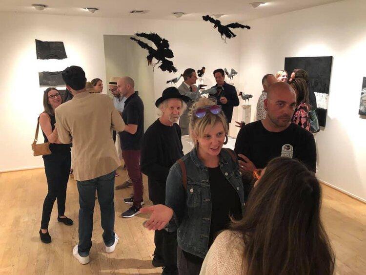 Seen here: Christine Ferrouge, Art Documents LA, John Richardson, James Panozzo, Andy Moses, Kelly Berg, Kim Vodden, Josh Vodden