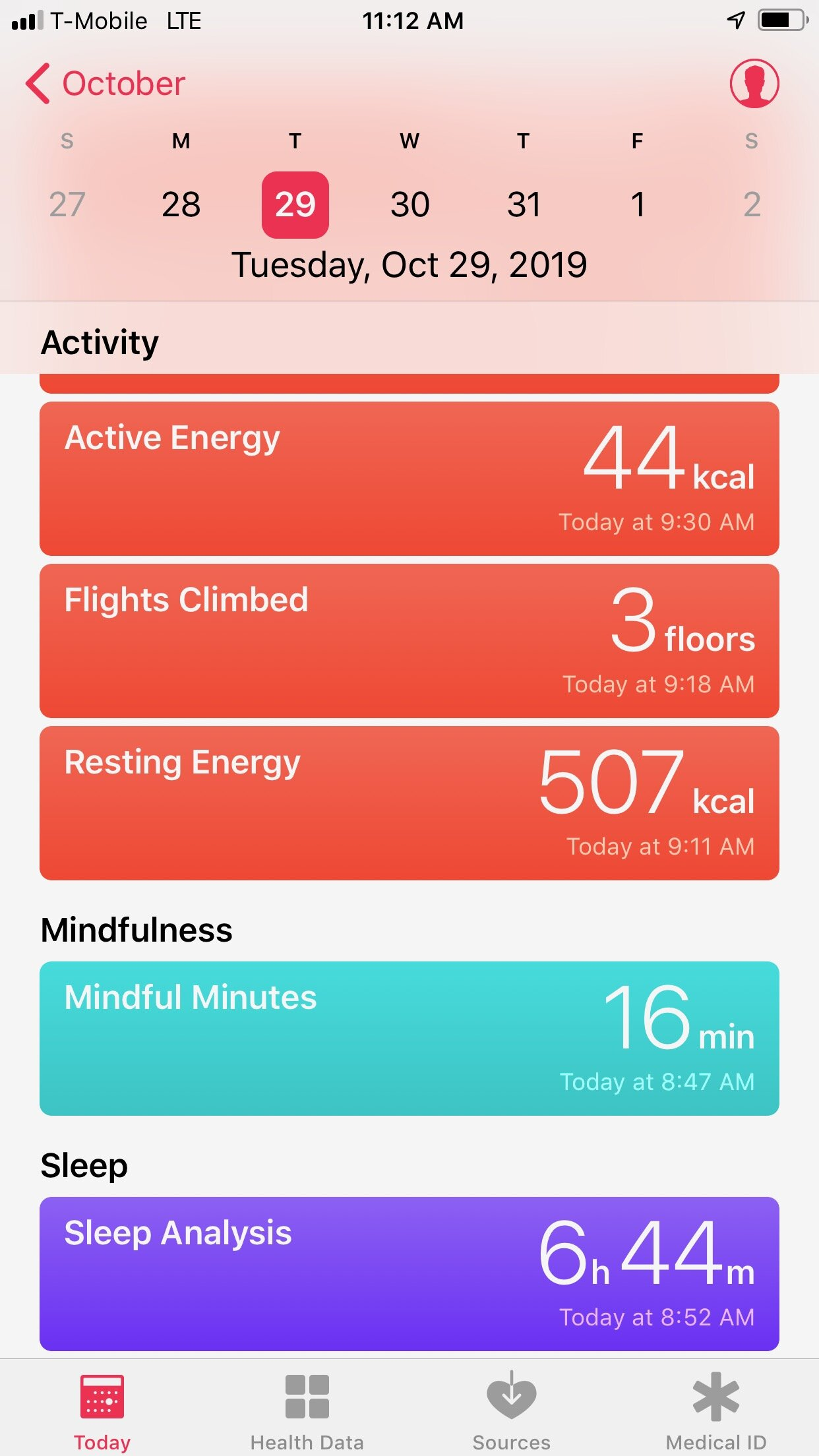 My apple health app. Tracks my steps, meditation, and sleep!