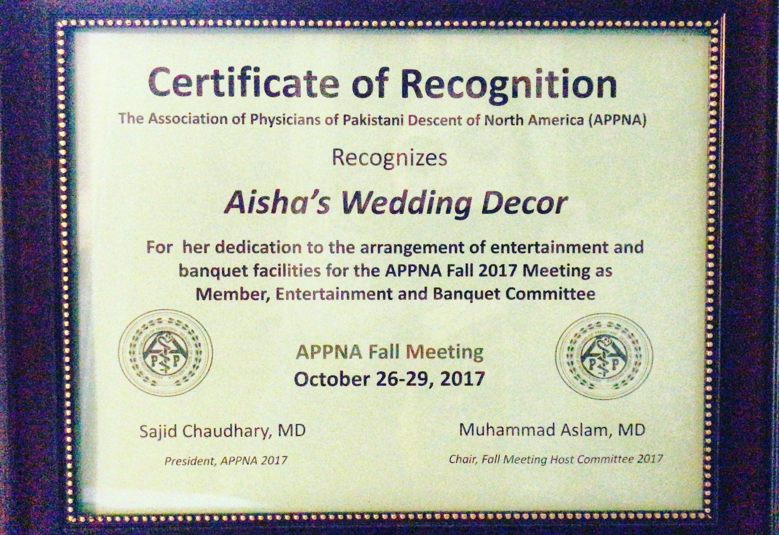 APPNA Certificate, 2017