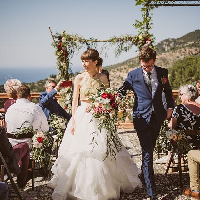 Throwback Thursday. Love these sunny pics from our bride @n_ryan from her wedding in Majorca last summer. Nicola wore a bespoke @philippa_long_bridal gold cropped bodice and a gold, hand dyed, silk tulle veil. ✨💫✨ 📷@nickrayphoto