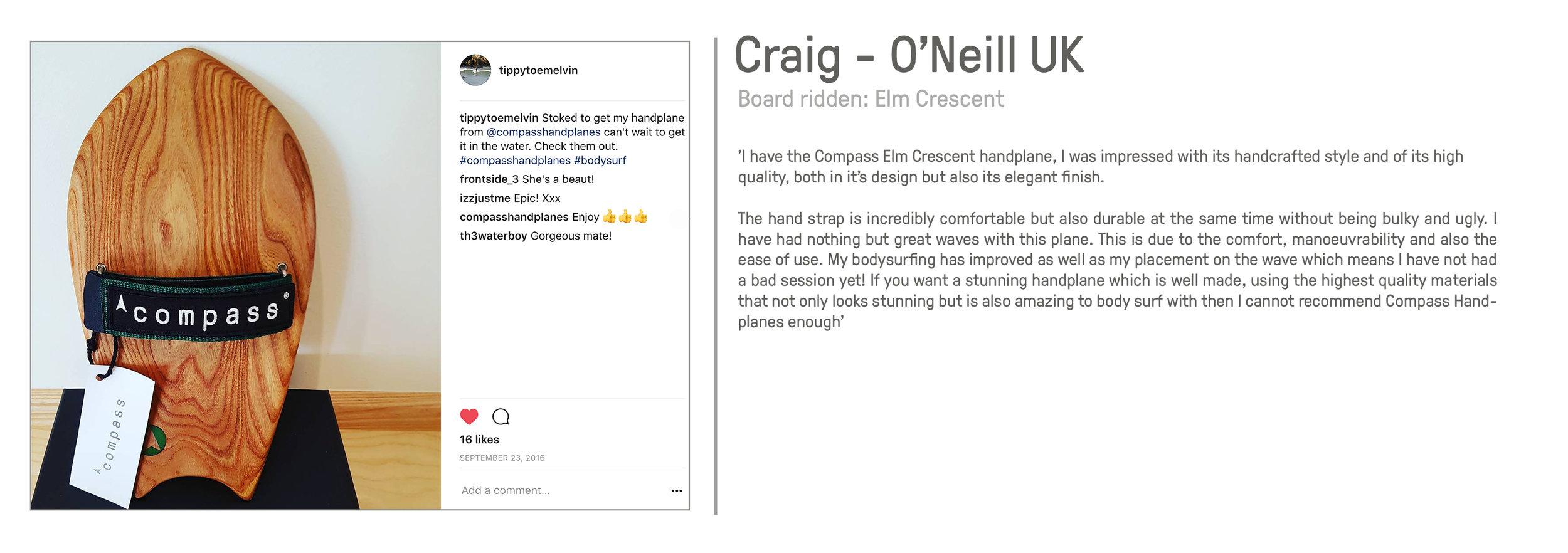 Craig O'Neill Compass Handplanes bodysurfing great review reviews