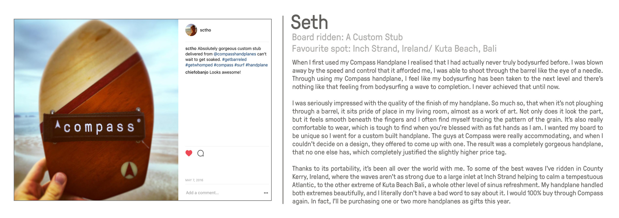 Ash customer Compass Handplanes bodysurfing great review reviews