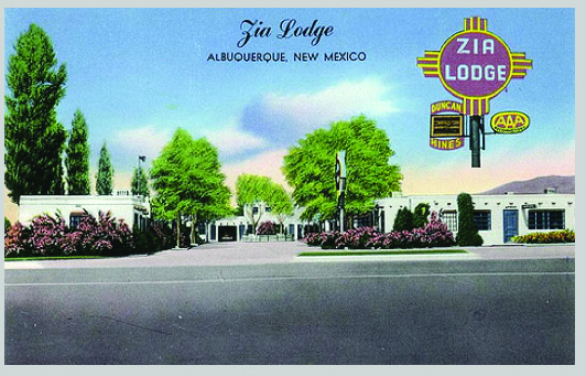 Erected in 1938 on Route 66 in Albuquerque, the Zia Motor Lodge was demolished in 2005.  Only the sign remains today.