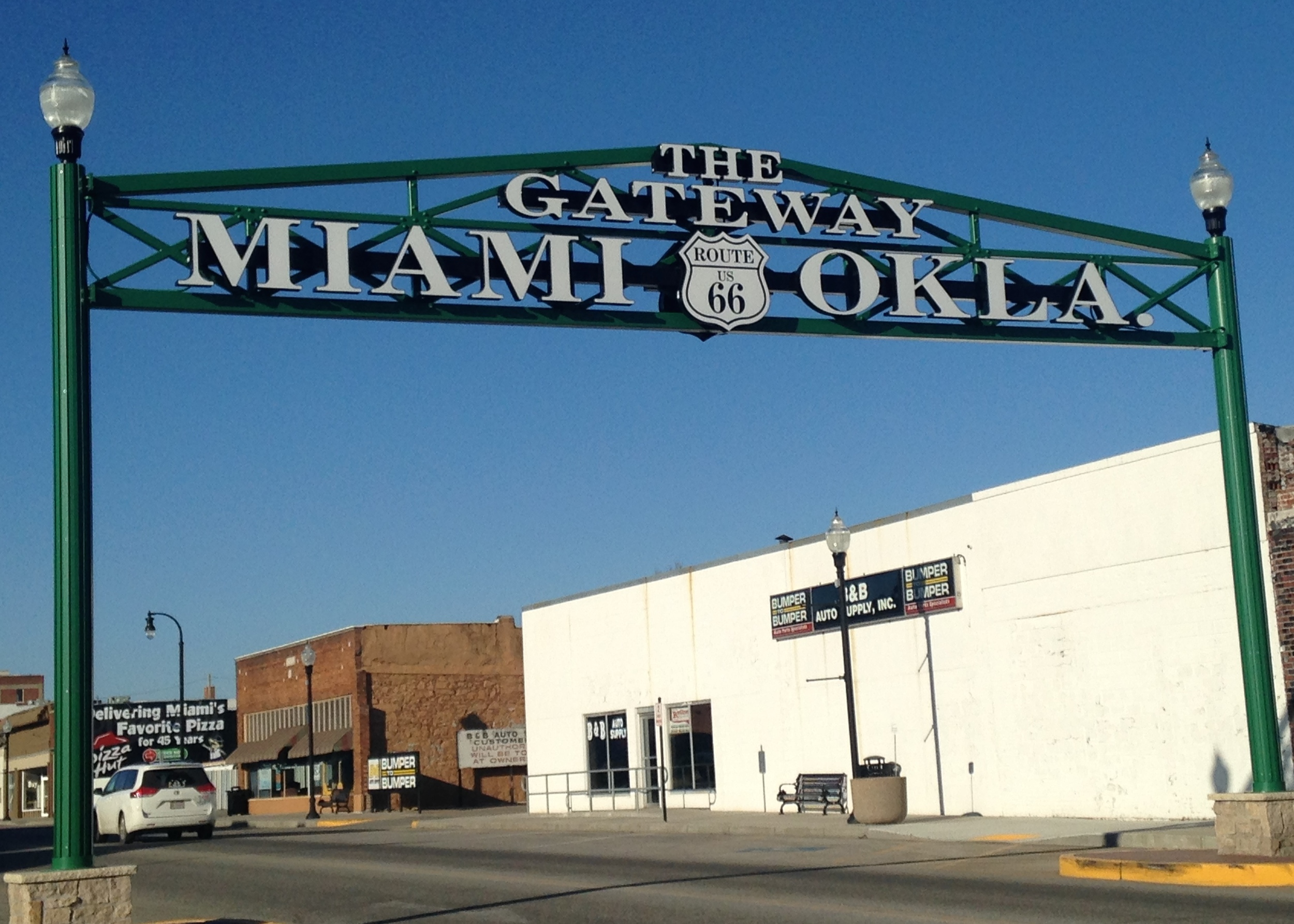 Gateway Sign: In the 1930s, after Route 66 made its way through Miami, Oklahoma, a sign spanning the roadway welcoming visitors to downtown was removed. Today, a replica sign spans Central and C Street, welcoming Route 66 travelers to Miami. nine federally-recognized tribes have their tribal headquarters in the Miami area.