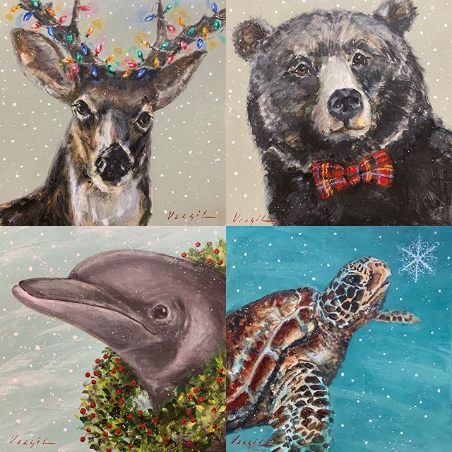 They are here! Local artist Mary Miller Veazie's latest additions to her Christmas animals!  We have the whole collection!  The perfect gift for many occasions!!
