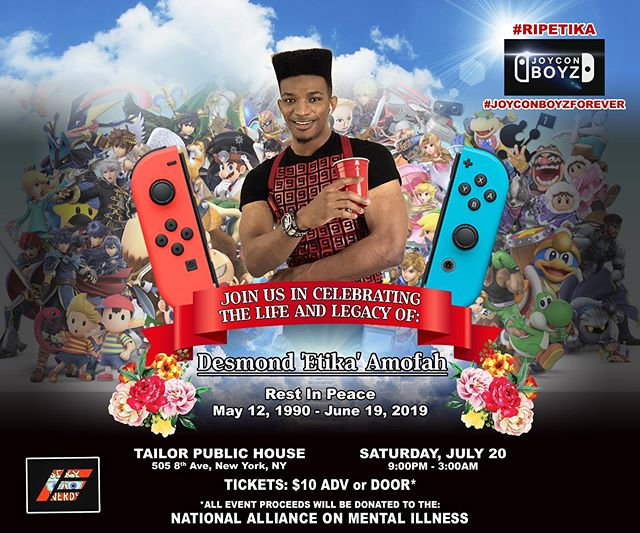 Join us in celebrating the life and legacy of Desmond @etika  Amofah. This is a fully loaded Sexy Nerds party full of Etika's favorite things, including friends, twizzlers, and super smash. Ticket link in bio. ***ALL PROCEEDS DONATED TO NATIONAL ALLIANCE ON MENTAL ILLNESS #sexynerds #joyconboyzforever