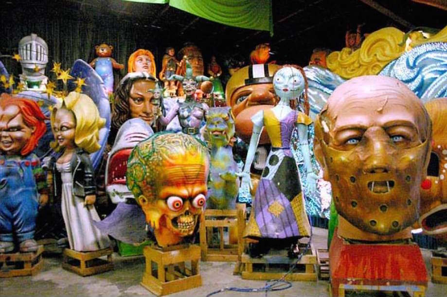 Paper mâché statues to be mounted on floats
