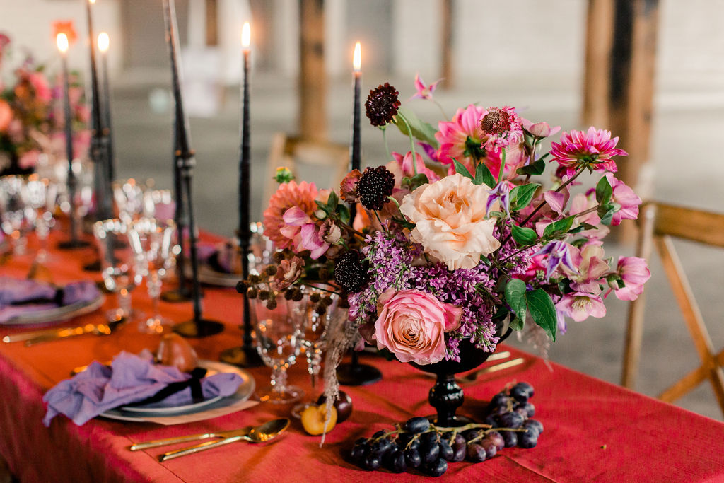 Dark and moody color pallet at the Ostreum Venue in Fort Worth, TX. Wedding Planner