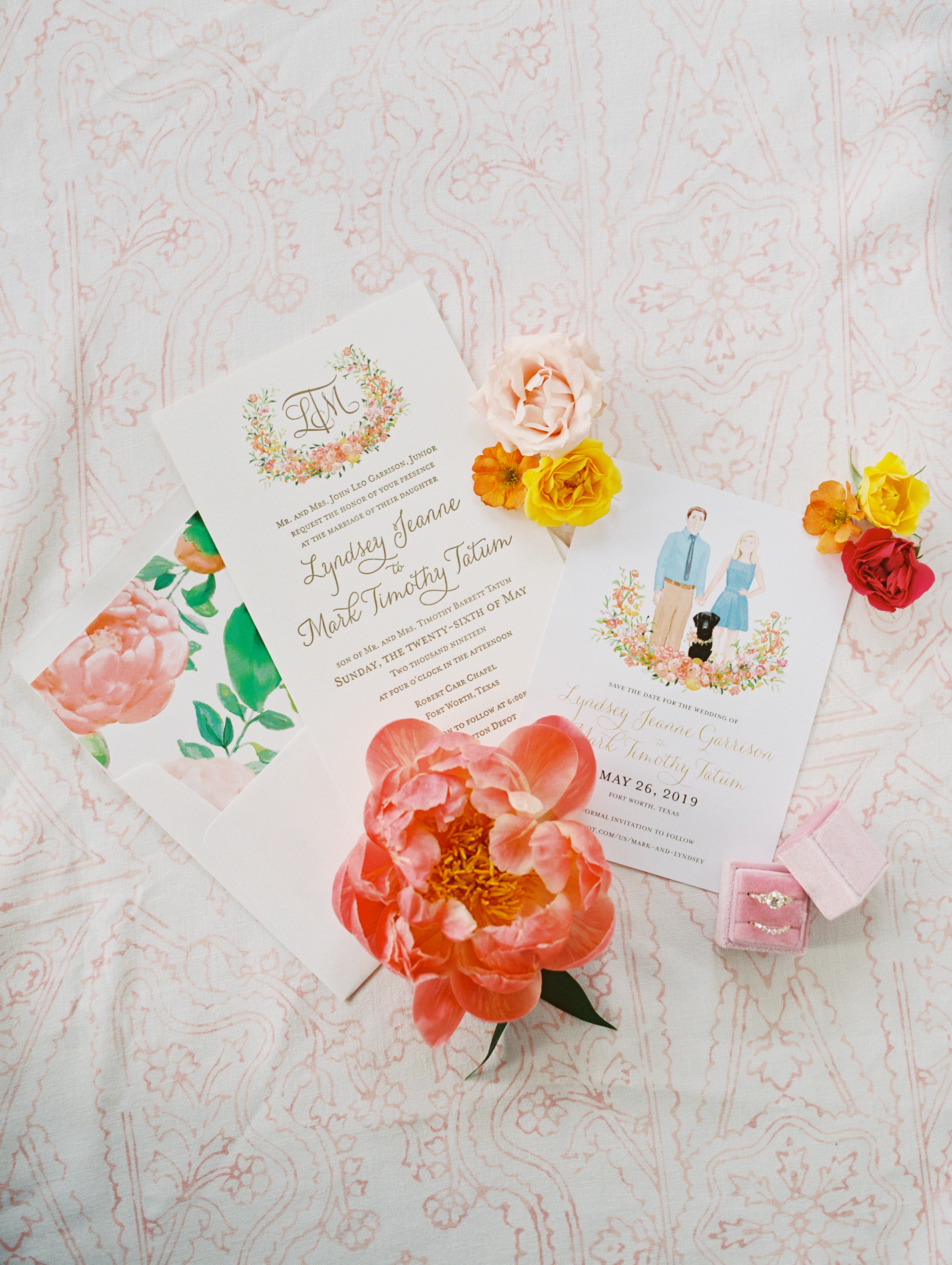 Custom illustrated Paper Goods, wedding planner and designer in Dallas Fort Worth